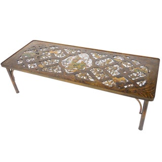 Rare Philip and Kelvin LaVerne Coffee Table, Bronze and Enamel For Sale