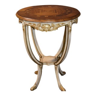Antique Carved & Inlaid Round French Provincial Table W/Gold Highlights For Sale