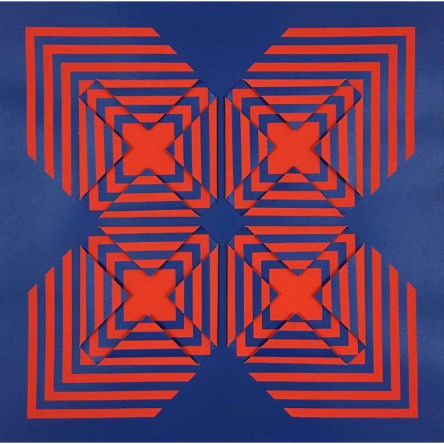 """1970s 1971 Vintage """"New Perspective"""" Geometric Op Art Serigraph Collage by Anne Youkeles For Sale - Image 5 of 13"""