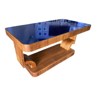 1930s Art Deco Mahogany Coffee Table With Cobalt Glass Top For Sale