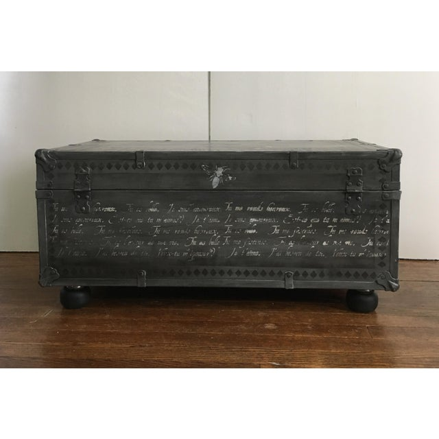 1940s French Country Metal Trunk For Sale - Image 4 of 5