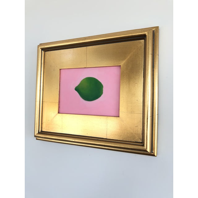 Contemporary Lime on Pink Still Life Framed Painting For Sale - Image 4 of 6