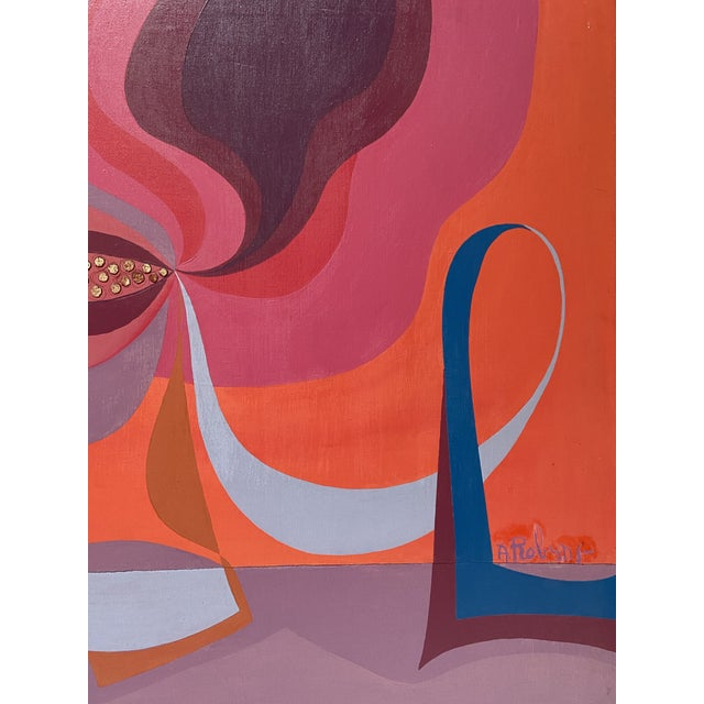 Abstract 1970s Vintage Modernist Abstract Still Life Oil by Annette Robyns For Sale - Image 3 of 7