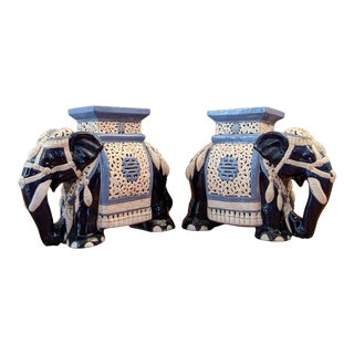 Chinoiserie Glazed Pierced Ceramic Elephant Plant Stands/Side Tables - a Pair For Sale
