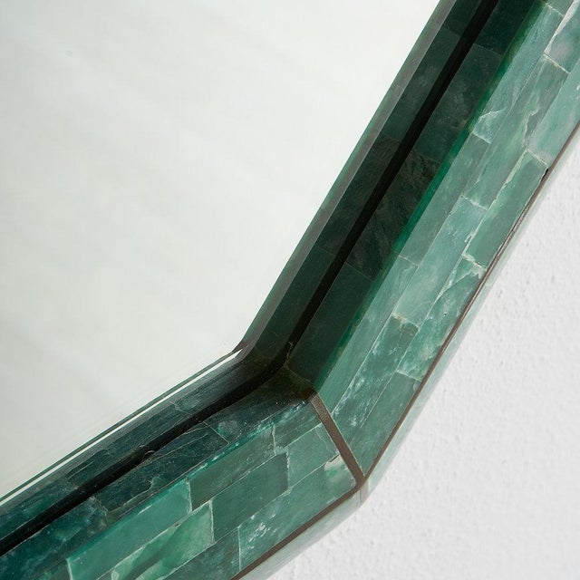 Modern Tessellated Green Marble Mirror by Maitland Smith For Sale - Image 3 of 7