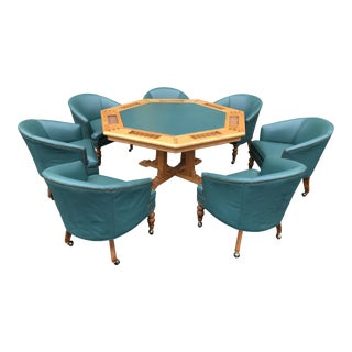 1980s Traditional Ethan Allen Poker Table Set - 8 Pieces For Sale