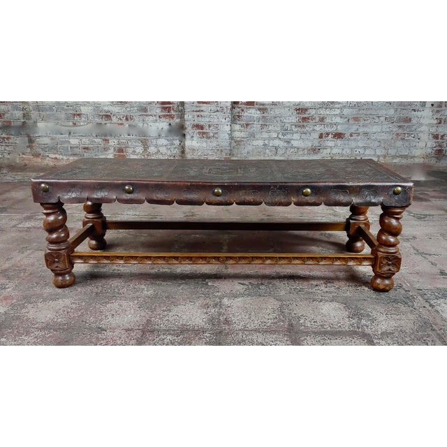 """Antique Spanish Colonial Bench-Beautiful Carved Wood & Embossed leather size 51 x 20 x 16"""" A beautiful piece that will add..."""