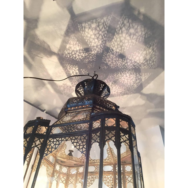 Large Vintage Moroccan Moorish Glass Light Fixture For Sale - Image 9 of 10