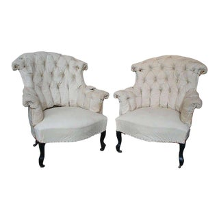 Pair of French Armchairs in Muslin For Sale