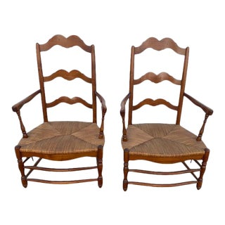 Vintage Pair Ladder Back Rush Seat Armchairs For Sale