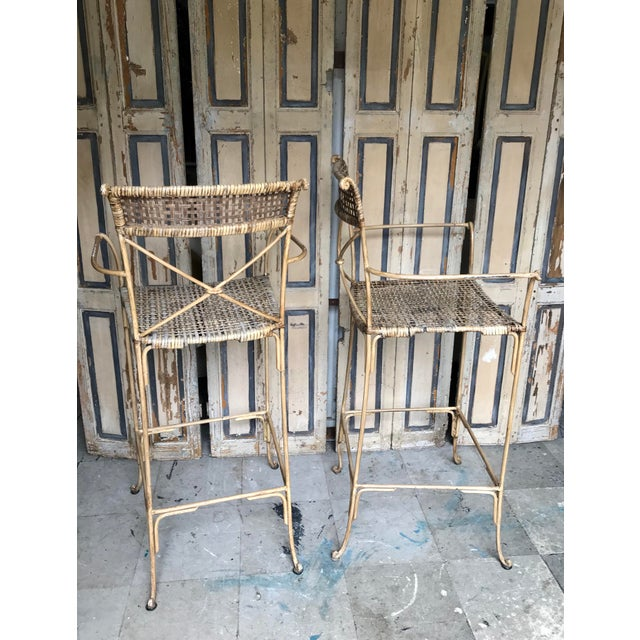 1980s Neoclassical Styled Metal Bar Stools, Pair For Sale - Image 5 of 13
