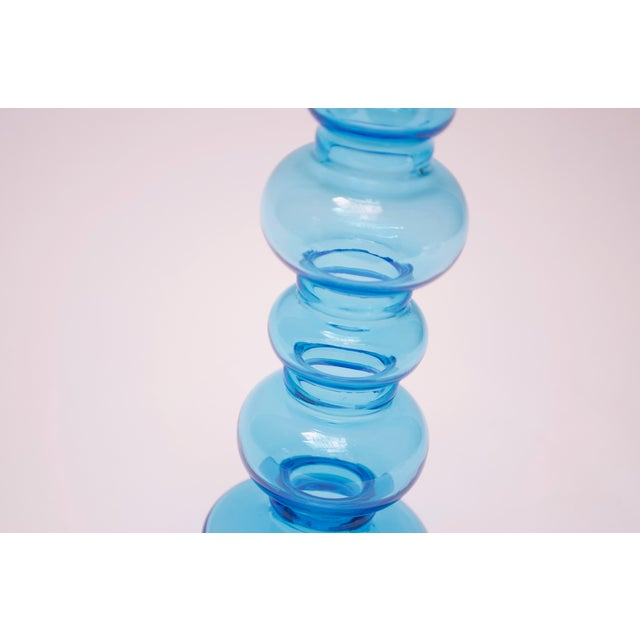 1960s Scandinavian Modern Turquoise Blown Glass Hooped Vase For Sale - Image 5 of 9