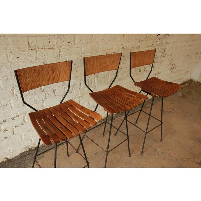 Arthur Umanoff for Raymor Mid-Century Modern Bar Stools - Set of 3 - Image 5 of 7