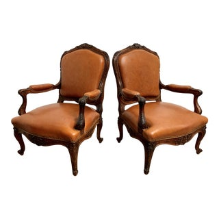 Oversized French Louis XV Style Armchairs - a Pair For Sale