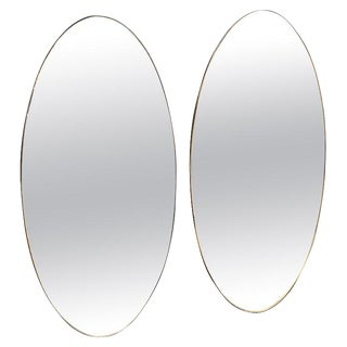 Pair of Oversize Oval Wall Mirrors, Italy, Late 1960s For Sale