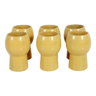 Art Deco / Mid Century California Pottery Glasses / Tumblers - Set of 6 For Sale