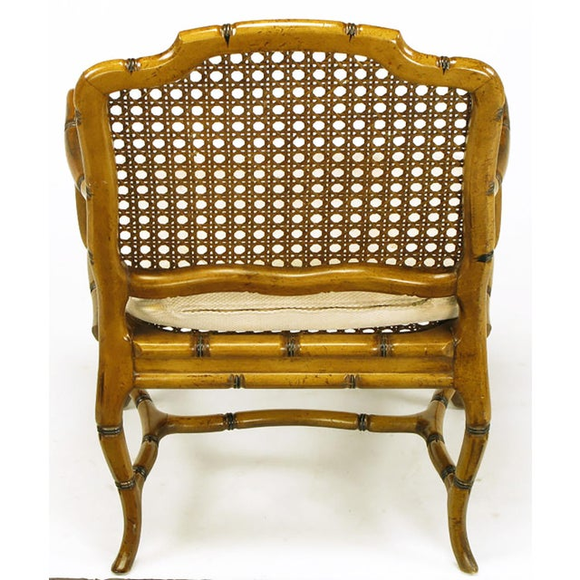 Wicker Bamboo-Form Cabriole Leg Cane Back Armchair For Sale - Image 7 of 9