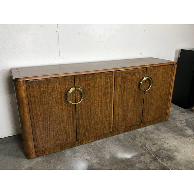 Baker Furniture Company Midcentury Mahogany and Brass Credenza by Micheal Taylor for Baker For Sale - Image 4 of 13