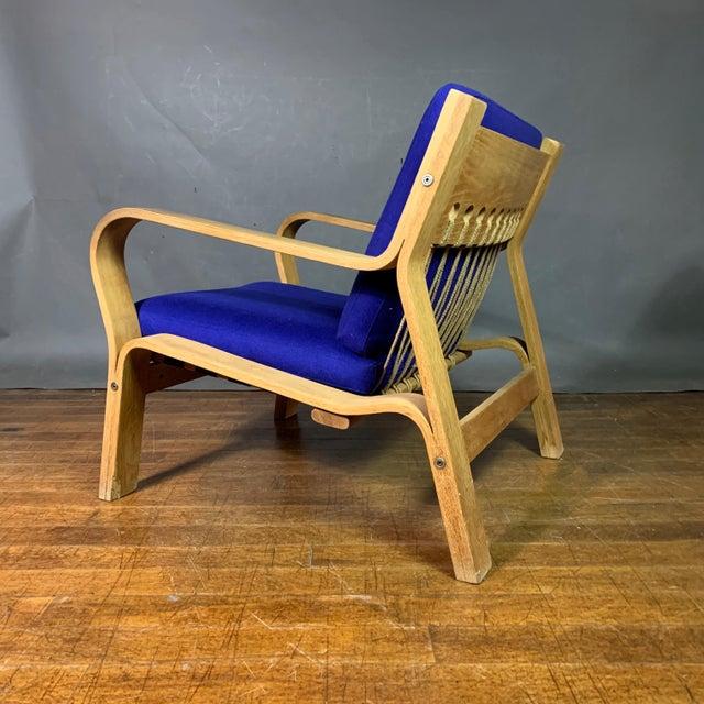Wood Hans J. Wegner Ge671 Oak & Flag Halyard Lounge Chair, Getama For Sale - Image 7 of 13