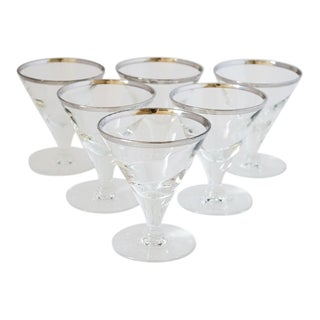Vintage Cordial Glasses With Platinum Rim - Set of 6 For Sale