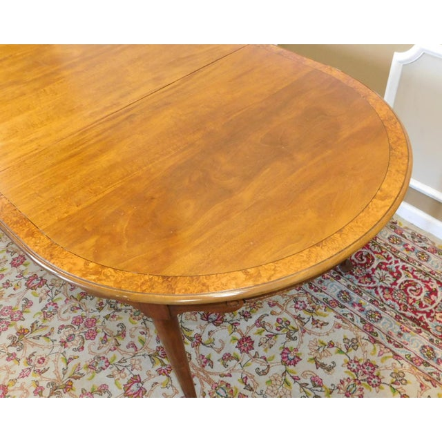 1980s Banded Walnut & Elm Dining Room Table W/ 2 Leaves For Sale - Image 5 of 10