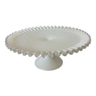 Vintage Fenton White Ruffle Edge Pedestal Cake Plate For Sale