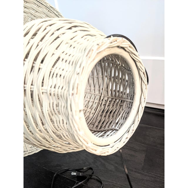 Vintage 1970s Whitewash Wicker Table Lamp For Sale - Image 9 of 10
