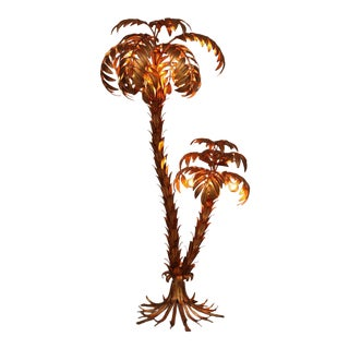 Huge Gilt Metal Two-Trunk Palm Tree Floor Lamp by Hans Kögl For Sale