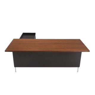 Large L Shape Walnut Desk with Return by Harvey Probber For Sale