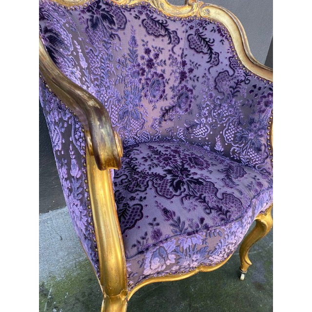 Purple Late 19th Century Vintage Italian Giltwood Chair For Sale - Image 8 of 13