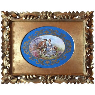 19th Century Unmarked Sevres Hand-Painted Porcelain Plaque with a Hand Carved Frame For Sale
