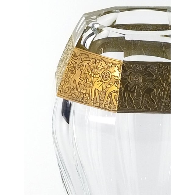 """Traditional Vintage Moser """"Diva"""" Crystal Vase Gilded Band in a Classical Pattern For Sale - Image 3 of 10"""