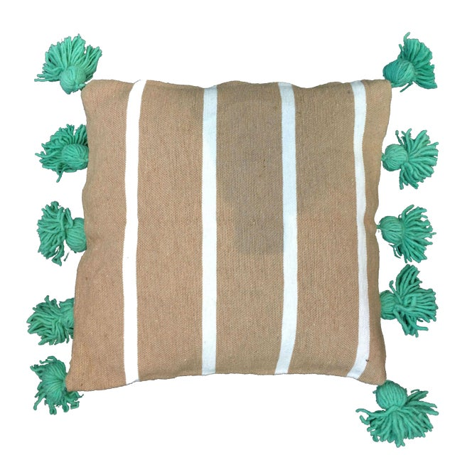 Beige & Mint Pompom Pillow Cover For Sale