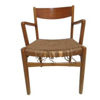 Vintage Han Wagner Style Danish Modern Woven Seat Arm Chair For Sale