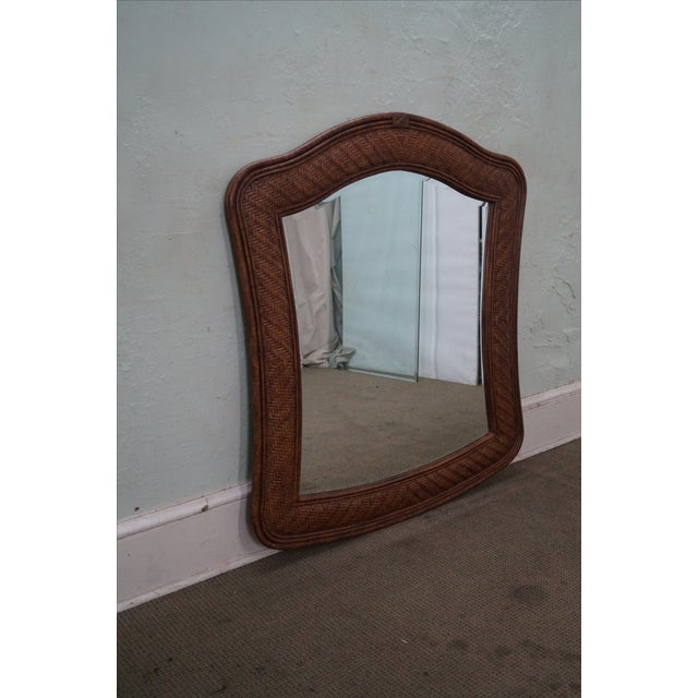 Traditional Lexington Tommy Bahama Rattan Frame Beveled Mirror For Sale - Image 3 of 10