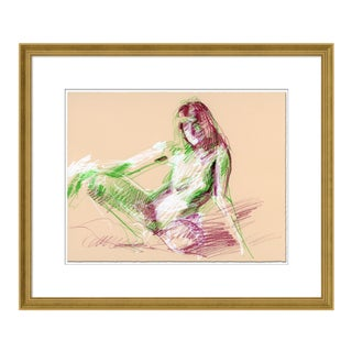 Figure 2 by David Orrin Smith in Gold Frame, Medium Art Print Matted For Sale