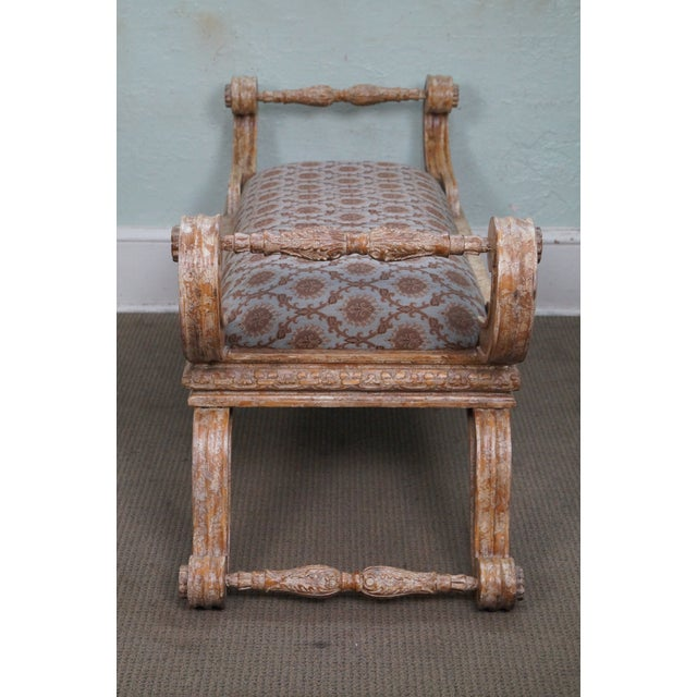 Traditional Crackle Painted X Base Regency Style Bench For Sale - Image 3 of 10