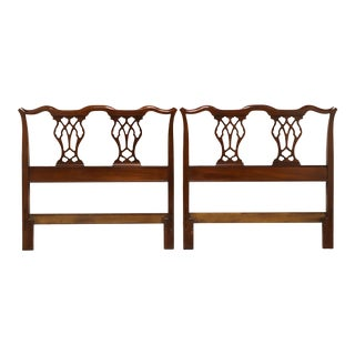 Vintage Mid 20th Century Mahogany Chippendale Twin Headboards - Pair For Sale