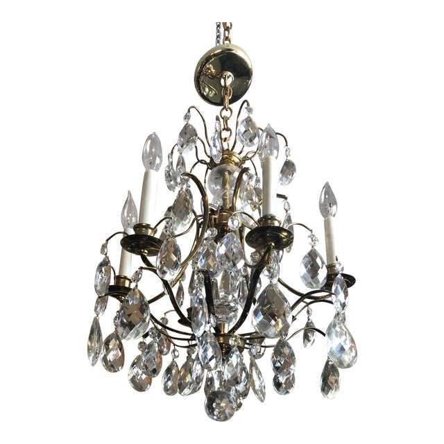 Mid Century Solid Brass Crystal Marie Therese Style French Chandelier 1950s/60s For Sale