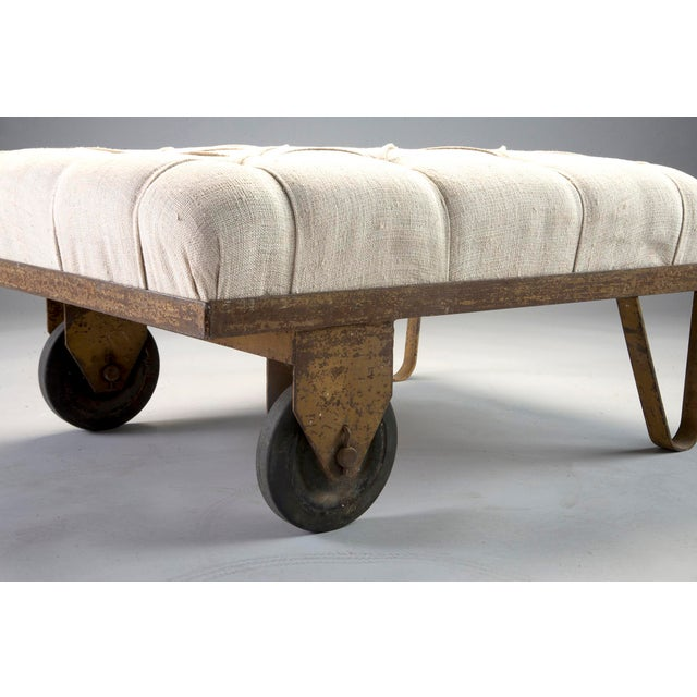 Gold 1930s Tufted Ottoman Bench Stool with Industrial Wheelbarrow Base For Sale - Image 8 of 13