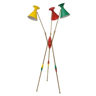 Original Stilnovo Italian Brass Floor Lamp For Sale