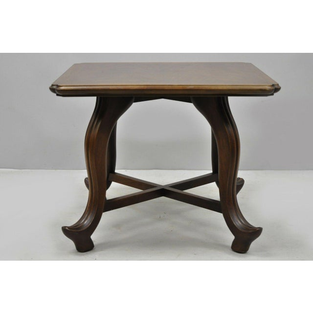French 20th Century Hollywood Regency John Widdicomb Walnut Low Side Table For Sale - Image 3 of 11