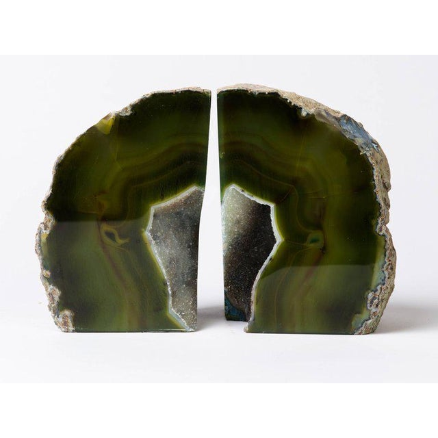 Pair of Organic Modern Agate Stone and Crystal Bookends in Moss Green For Sale In New York - Image 6 of 11