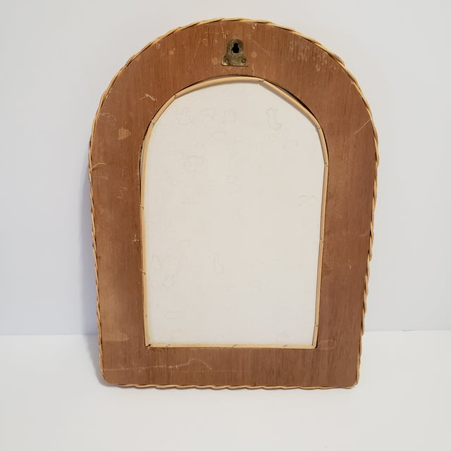 Vintage Natural Wicker Original 1970s Arch Wall Mirror For Sale - Image 4 of 10