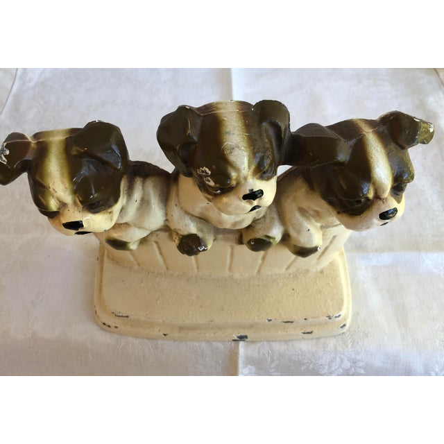 Vintage Cast Iron Door Stop Bulldog Puppies In Basket Chairish