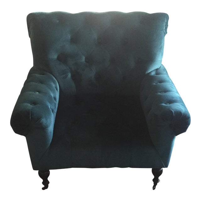 Magnolia Home Upholstered Teal Chair - Image 1 of 3