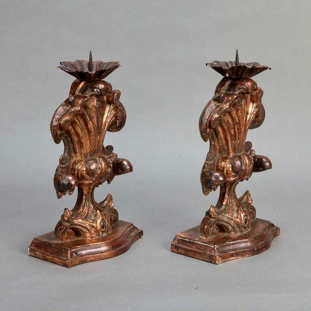 Italian Bronze Carved Wood Candle Holder Amphoras - A Pair For Sale - Image 4 of 5
