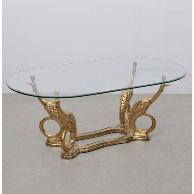 Metal Massive Brass Coffee or Side Table with Peacocks For Sale - Image 7 of 7