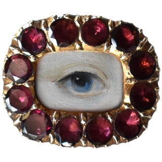 Early 19th Century Lover's Eye Georgian Garnet Brooch For Sale