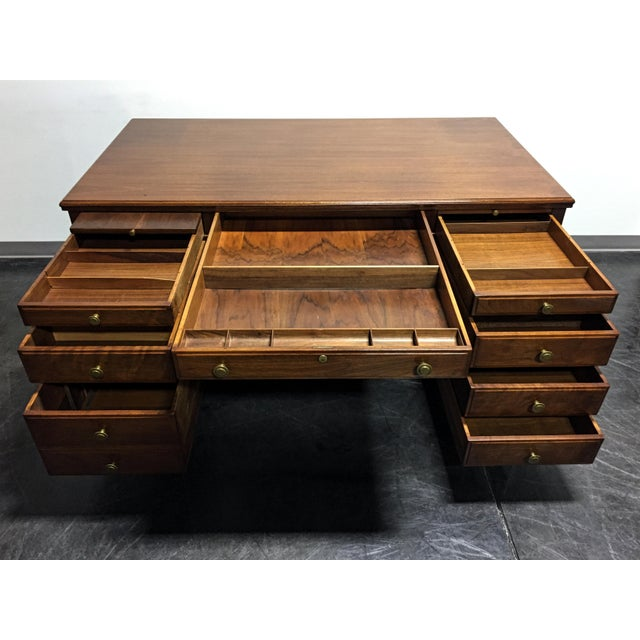 Vintage Solid Walnut Executive Desk by Doten-Dunton For Sale In Charlotte - Image 6 of 11